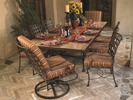 OW Lee Classico Wide Arms Wrought Iron Dining Set