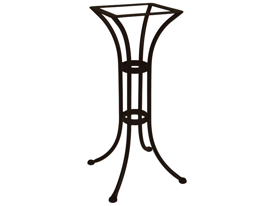Ow lee standard mesh wrought iron counter round table base for Outdoor table bases wrought iron