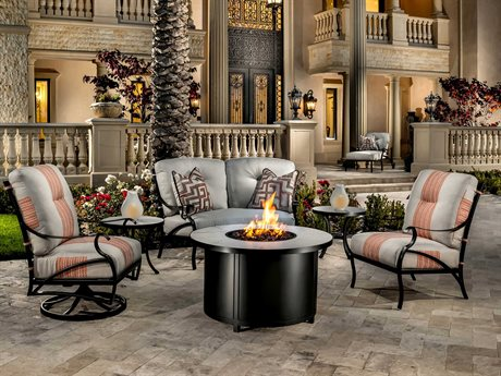 OW Lee Grand Cay Aluminum Fire Pit Lounge Set