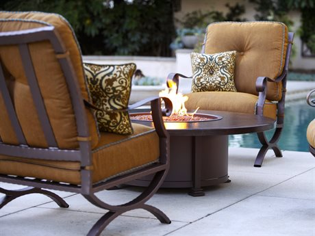 OW Lee Luna Wrought Iron Fire Pit Lounge Set PatioLiving