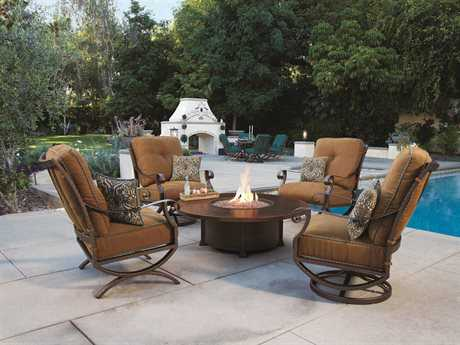 OW Lee Luna Wrought Iron Firepit Lounge Set