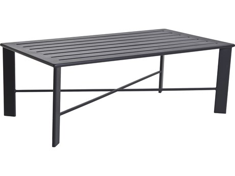 OW Lee Modern Aluminum 50 x 28 Rectangular Slatted Top Coffee Table