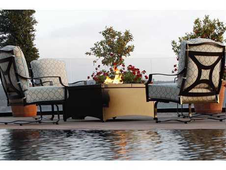 OW Lee Madison Wrought Iron Firepit Lounge Set