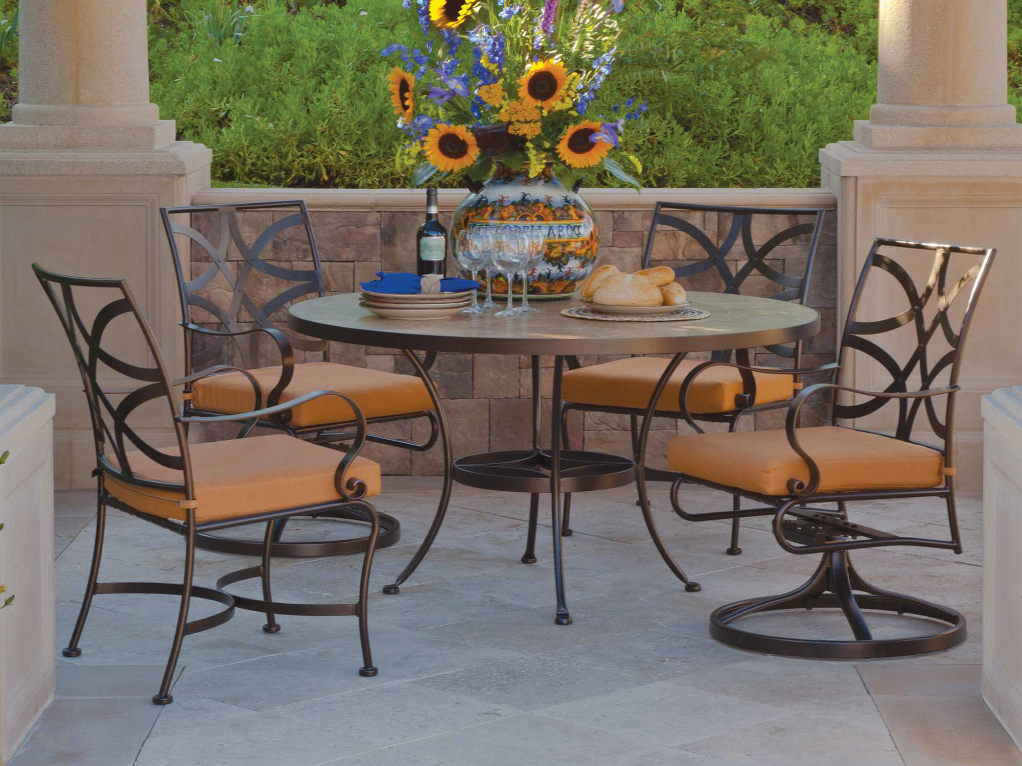 OW Lee Wrought Iron Dining Round Table Base | DT03-BASE