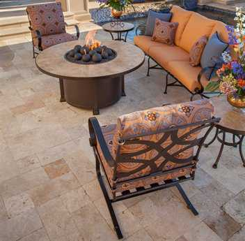 OW Lee Marquette Wrought Iron Firepit Lounge Set
