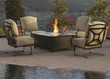 OW Lee Madison Aluminum Fire Pit Lounge Set PatioLiving