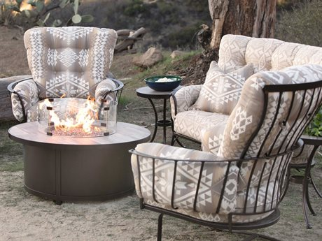 OW Lee Pendleton Wrought Iron Mini MonterraFire Pit Lounge Set