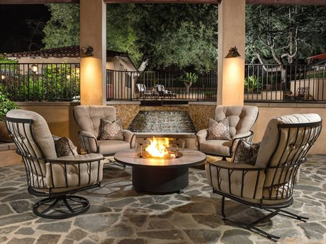 OW Lee Monterra Wrought Iron Fire Pit Lounge Set