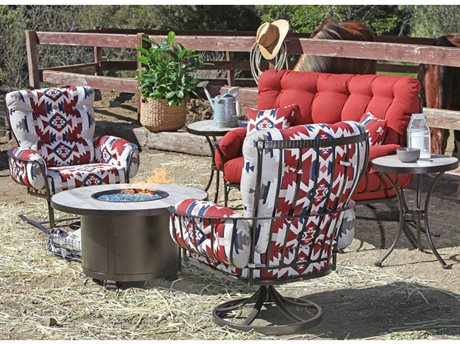 OW Lee Mini Monterra Pendleton Wrought Iron Fire Pit Lounge Set