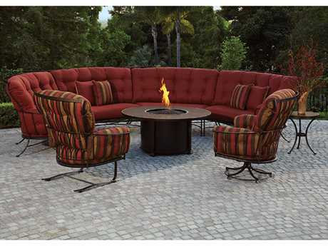 OW Lee Monterra Wrought Iron Sectional Firepit Lounge Set