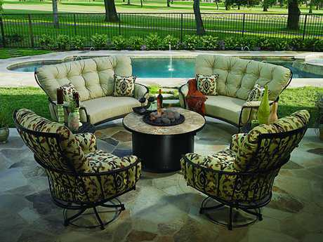 OW Lee Monterra Wrought Iron Firepit Lounge Set OWMONTLS2