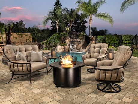 OW Lee Monterra Copper Canyon Wrought Iron Fire Pit Lounge Set