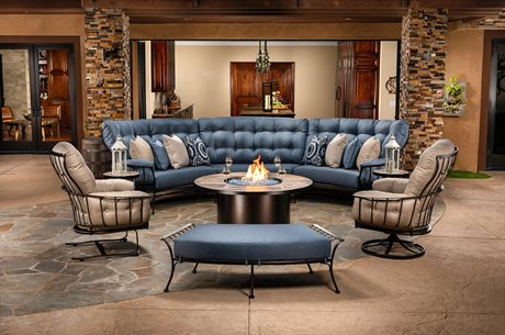 OW Lee Monterra Wrought Iron Curved Sectional Fire Pit Lounge Set