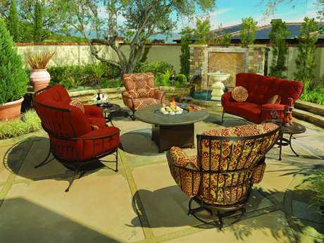 OW Lee Monterra Wrought Iron Firepit Lounge Set