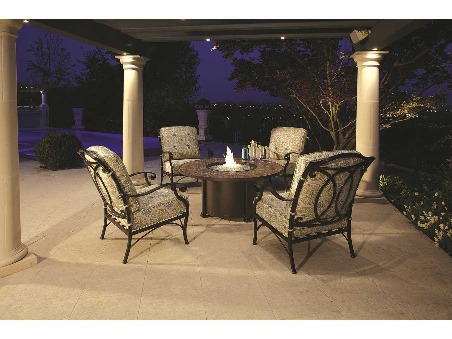 Ow Lee Casual Fireside Santorini Wrought Iron 54 Round