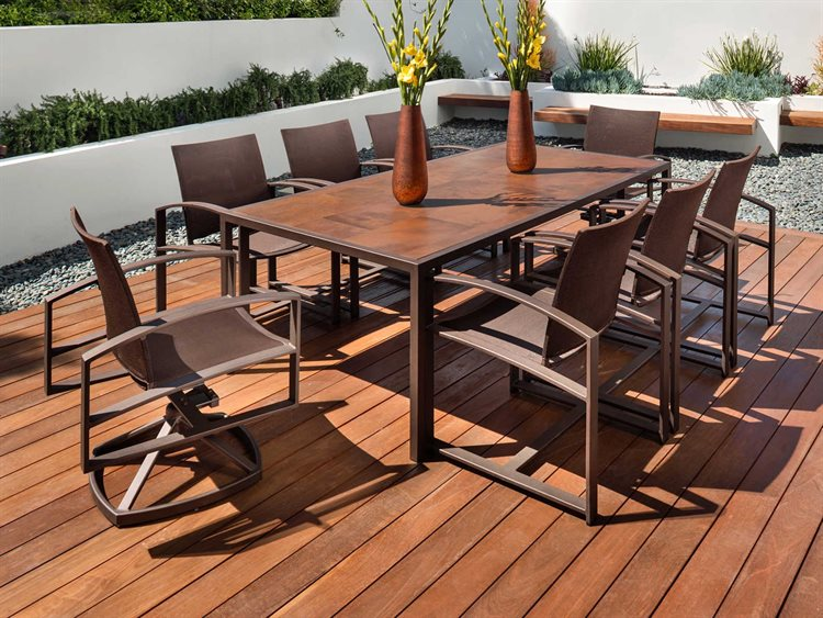 OW Lee Pacifica Wrought Iron Pit Dining Set PatioLiving