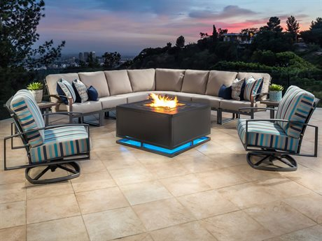 OW Lee Pacifica Wrought Iron Sectional Firepit Set