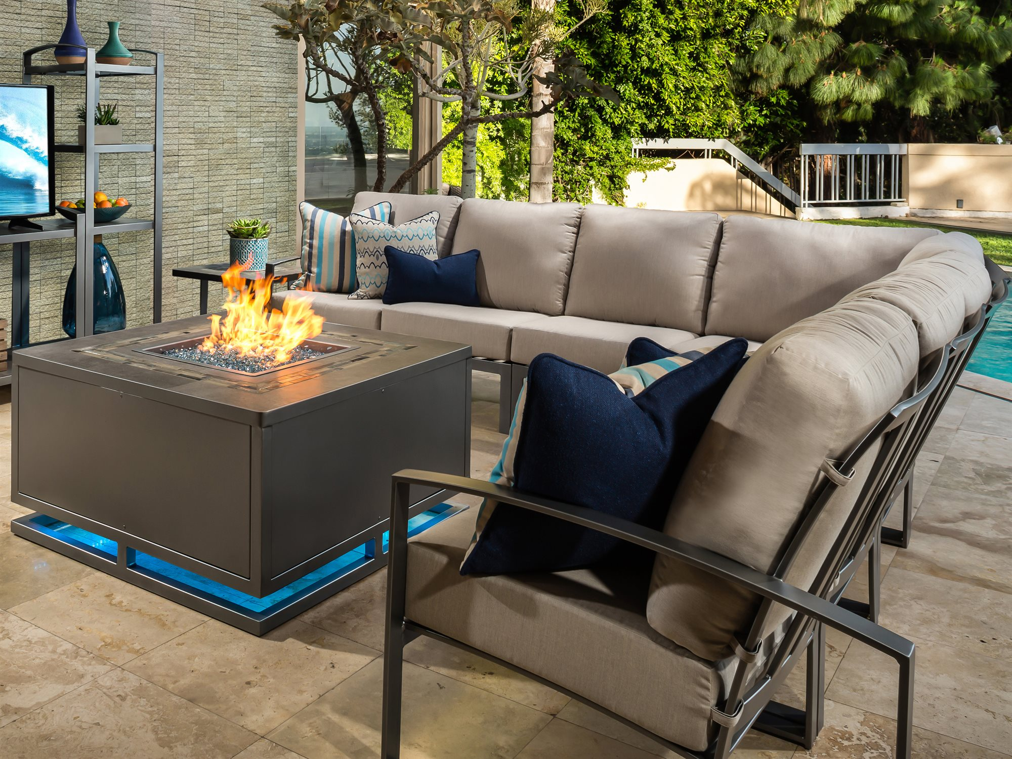 Incroyable ... OW Lee Casual Fireside Zen Wrought Iron 42 Square Chat Height Fire Pit  Table