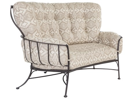 OW Lee Pendleton Copper Canyon Wrought Iron Monterra Crescent loveseat in Diamond River Tonal Dune OWPD4262S