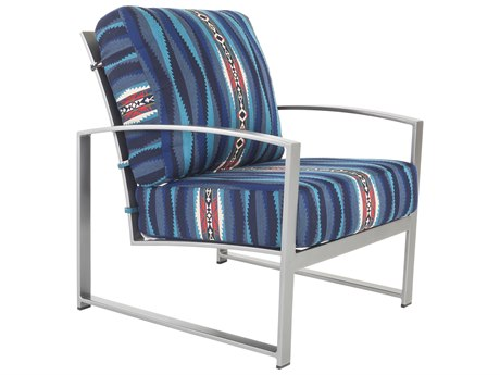 OW Lee Pendleton Coatal Grey Wrought Iron Pacifica Lounge Chair in Lahaina Wave Tuquois