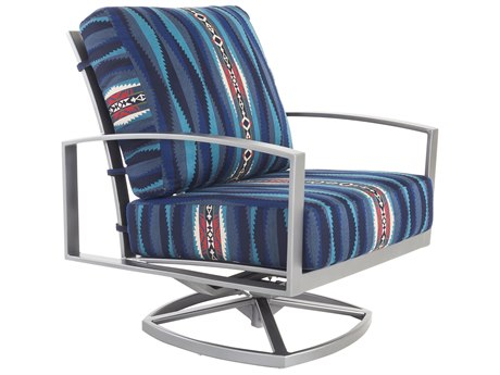 OW Lee Pendleton Coastal Grey Wrought Iron Pacifica Swivel Rocker Lounge Chair in Lahaina Wave Tuquois