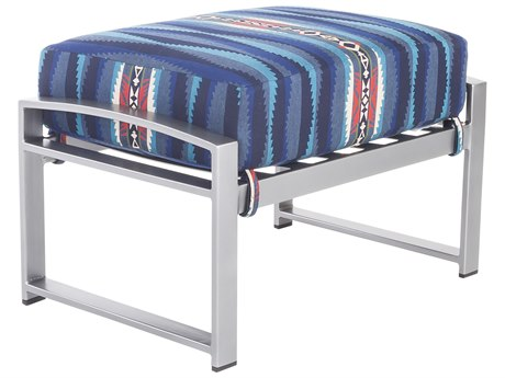 OW Lee Pendleton Coastal Grey Wrought Iron Pacifica Ottoman in Lahaina Wave Tuquois