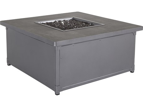 OW Lee Pendleton Coastal Grey Steel Creighton 42'' Wide Square Occasional Height Fire Pit Table