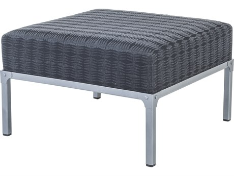 OW Lee Pendleton Coastal Grey Steel Creighton Ottoman in Saw Tooth Midnight