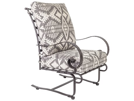 OW Lee Classico W Pedalton Wrought Iron Hi-Back Spring Lounge Chair