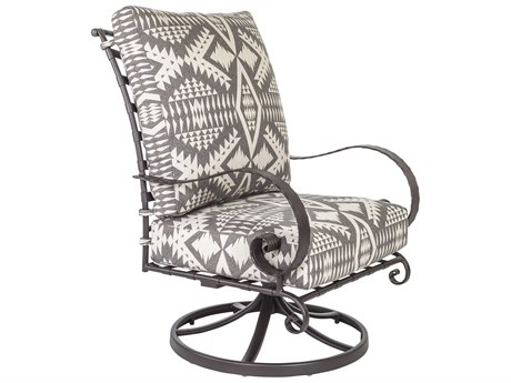 OW Lee Classico W Pedalton Wrought Iron Hi-Back Swivel Rocker Lounge Chair