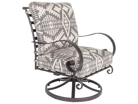 OW Lee Classico W Pedalton Wrought Iron Swivel Rocker Lounge Chair