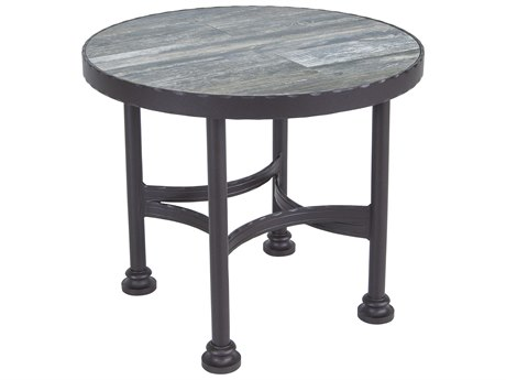 OW Lee Classico Cushion Pedalton Wrought Iron 24''Wide Round End Table