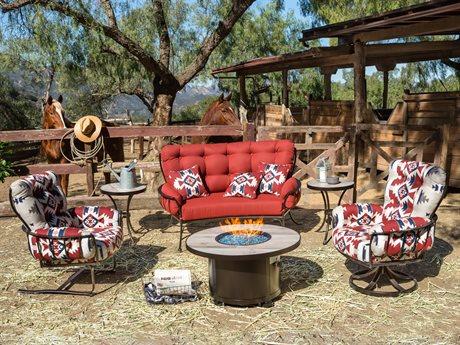 OW Lee Pendleton Mini Monterra Copper Canyon Wrought Iron Fire Pit Lounge Set OWPDMNMNTRRAFRPTLNGSET
