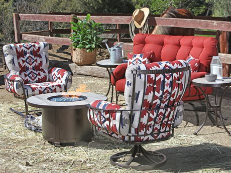 Ow Lee Pendleton Mini Monterra Copper Canyon Wrought Iron Fire Pit Lounge Set