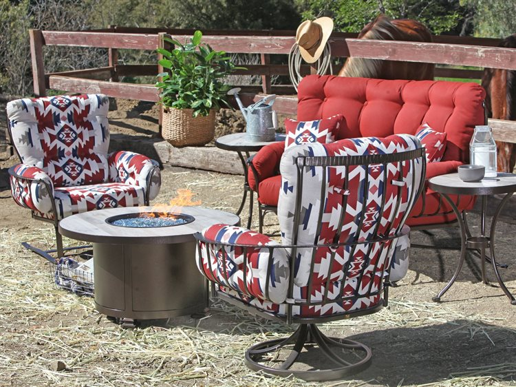 Groovy Ow Lee Pendleton Mini Monterra Copper Canyon Wrought Iron Fire Pit Lounge Set Download Free Architecture Designs Viewormadebymaigaardcom