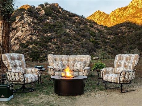 OW Lee Pendleton Monterra Copper Canyon Wrought Iron Fire Pit Lounge Set