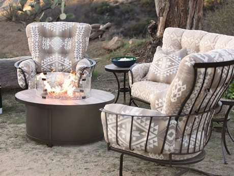 Ow Lee Pendleton Monterra Copper Canyon Wrought Iron Fire Pit Lounge Set