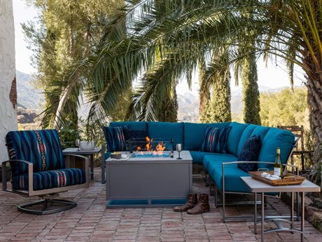 OW Lee Pendleton Pacifica Coastal Grey Wrought Iron Sectional Fire Pit Lounge Set