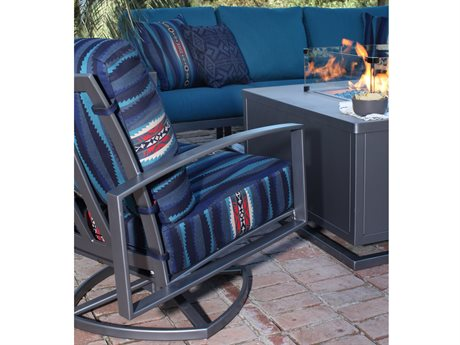 OW Lee Pendleton Pacifica Coastal Grey Wrought Iron Sectional Fire Pit Lounge Set OWPDPCFCAFRPTLNGSET1