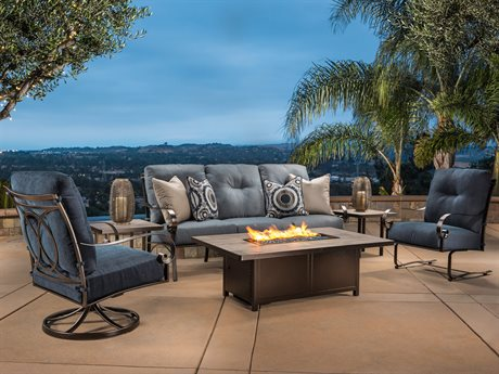 OW Lee Pasadera Steel Fire Pit Lounge Set
