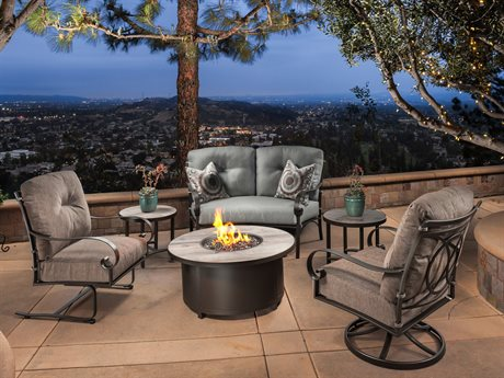 OW Lee Pasadera Steel Fire Pit Lounge Set PatioLiving