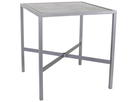 OW Lee Quadra Wrought Iron 39'' Wide Square Bar Table