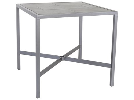 OW Lee Quadra Wrought Iron 39'' Wide Square Counter Table with Umbrella Hole