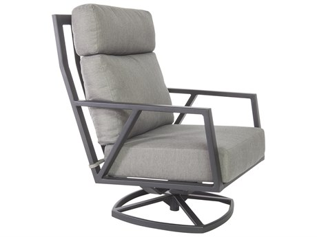 OW Lee Quick Ship Aris Graphite Aluminum Swivel Rocker Lounge Chair in Flagship Pewter