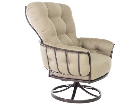 OW Lee Quick Ship Monterrra Copper Canyon Wrought Iron Swivel Rocker Lounge Chair in Sahara Cafe