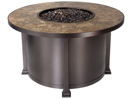 OW Lee Quick Ship Santorini Wrought Iron 42 Round Chat Height Fire Pit Table