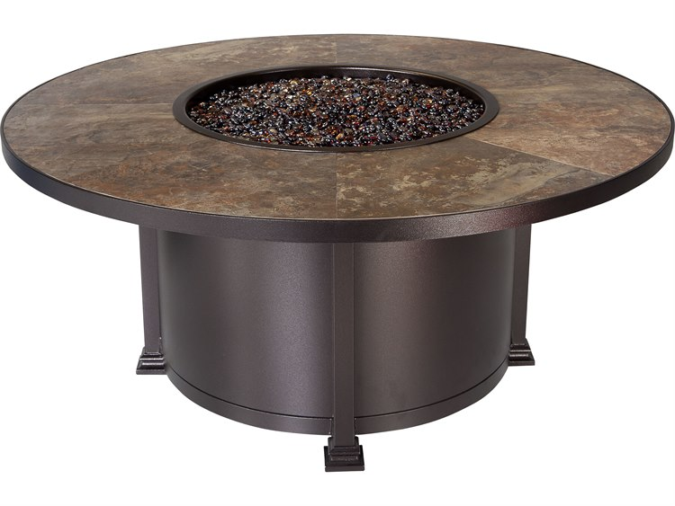 OW Lee Quick Ship Santorini Wrought Iron 54 Round Chat Height Fire Pit Table  | QS 51 10RSA