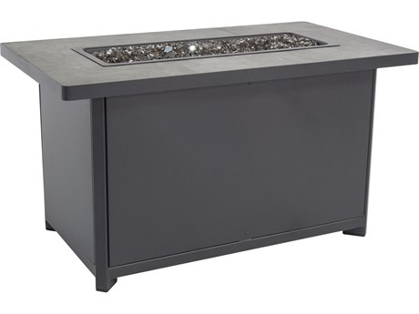 OW Lee Quick Ship Metrop Graphite Aluminum 45''W x 26''D Rectangular Chat Height Fire Pit Table