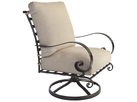 OW Lee Quick Ship Classico Wrought Iron Swivel Rocker Lounge Chair
