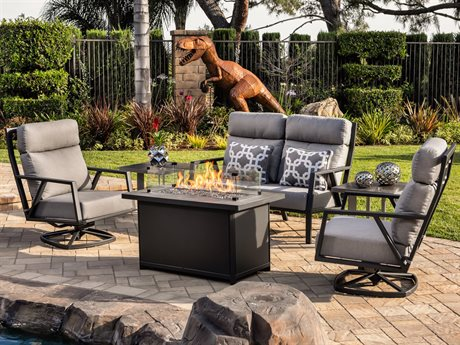 OW Lee Quick Ship Aris Graphite Aluminum Fire Pit Lounge Set in Flagship Pewter PatioLiving